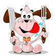 Cartoon puppy dog with knife & fork — Stok Vektör