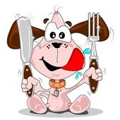 Cartoon puppy dog with knife & fork — Stock Vector