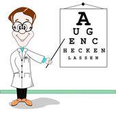 German optician cartoon — Stock Vector