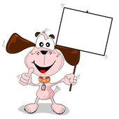 Cartoon dog holding a blank placard — Stock Vector