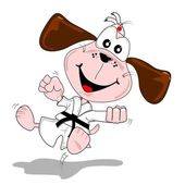 A cartoon dog doing martial arts — Stock vektor