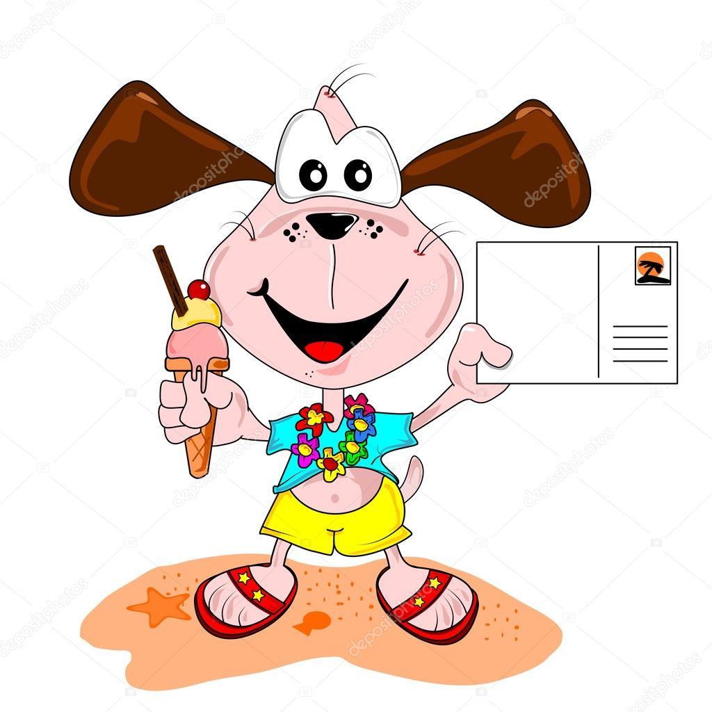 Cartoon dog on holiday vacation with blank postcard & ice cream — Stock Vector #7363804