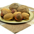 Selection of nuts on a plate — Stock Photo