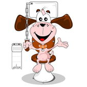 Toilet trained cartoon dog — Vecteur