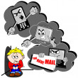 Cyber bullying concept cartoon - Stock Vector