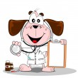 A cartoon dog doctor or vet with stethoscope — Stock Vector
