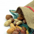 Mixed nuts in an open hessian bag - Stock Photo