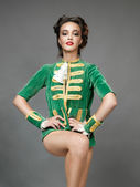 Beautiful woman in vintage blazer posing proud — Stock Photo