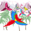 Macaws in jungles — Stock Vector