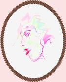 Watercolor portrait — Stock Vector