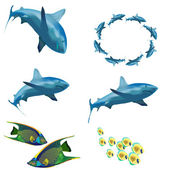 A set of images. Sea Life. — Stock Vector