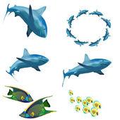 Zbiór obrazów. morze życie. — Wektor stockowy