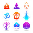 Icon-buddha-color - Stockvectorbeeld