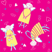 Seamless-pattern-angels-and-hearts — Stockvektor