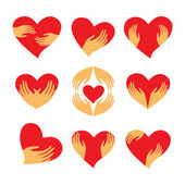 Set-heart-in-hands — Stock Vector