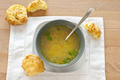 Soup and gougere — Stock Photo