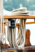 Rope on deck — Stock Photo