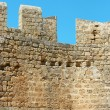 Walls of ancient acropolis at Lindos, Rhodes Island (Greece) - Stock Photo