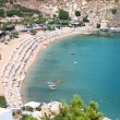 Stock Photo: View from above of main beach in Lindos, Rhodes, one of the