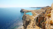 Aerial view on St. Paul's bay in Lindos (Rhodes island) — Stock Photo