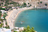 View from above of the main beach in Lindos, Rhodes, one of the — Stock Photo