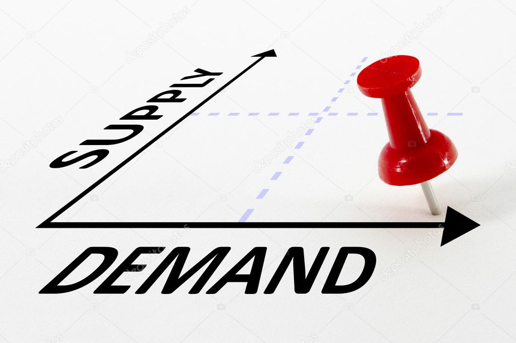 High Demand and Low Supply analysis concept on a graph with a red push pin — Stock Photo #6965087