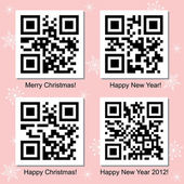 Christmas and New Year QR Code vector set — Stock Vector