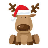 Christmas reindeer in Santa`s red hat — Vecteur