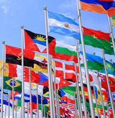 Brazil and Argentina flags and national flags all over the world — Stock Photo