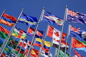 Canada and British Commonwealth and national flags all over the world — Stock Photo
