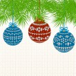 Christmas Background with Knitted Ball. Vector illustration. — Stock Vector
