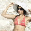 Women in Italy style at the beach — Stock Photo #6955447