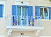 Traditional greek blue windows — Stock Photo