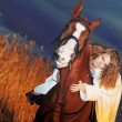 Bride ride on red horse at night — Stock Photo #7491114
