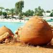 Stock Photo: Cyprus lazure beach with nistoric pots, AyiNapa