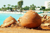 Cyprus lazure beach with nistoric pots, Ayia Napa — Stock Photo