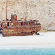 Wreck ship in Zante beach — Stock Photo