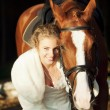 Portrait of nice bride with horse - Stock Photo