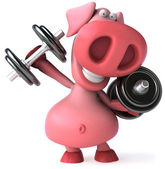 Fun pig and weights — Stock Photo