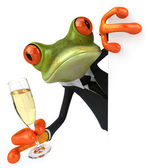 Frog and champagne — Stockfoto