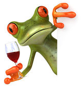 Frog with wine — Stock Photo
