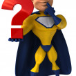 A superhero with a question mark - Stock Photo