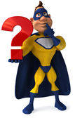 A superhero with a question mark — Stock Photo