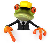 Frog with a blank sign — Stock Photo