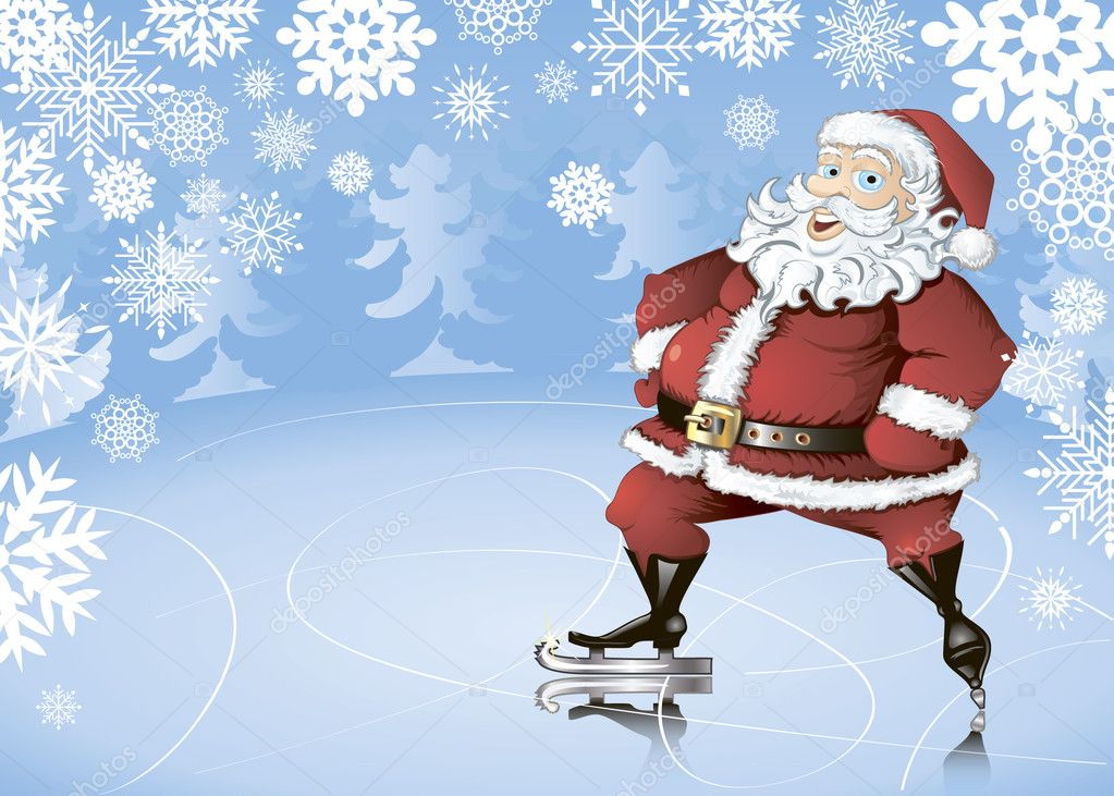 Winter background with skating Santa Claus, snowflakes and fir trees — Stock Vector #7239298