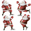 A set of skating Santas — Stock Vector