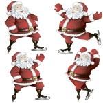 A set of skating Santas — Stock Vector