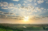 Magic summer sunset over rural expanses — Stock Photo