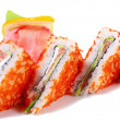 Sushi sandwiches with salmon and caviar tobiko - Stock Photo