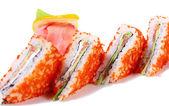 Sushi sandwiches with salmon and caviar tobiko — Stock Photo